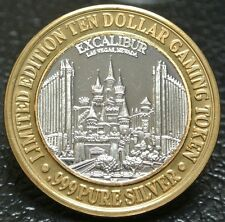 EXCALIBUR LAS VEGAS NEVADA LTD EDITION TEN DOLLAR GAMING TOKEN -.999 Pure Silver