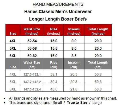 Big /& Tall LONGER LENGTH X-Temp Boxer Briefs Hanes Ultimate 6-PACK 4XL 5XL 6XL