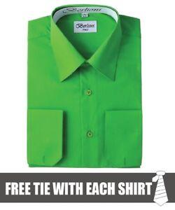 Berlioni-Men-039-s-Convertible-Cuff-Long-Sleeve-Dress-Shirt-Apple-Green-FREE-TIE