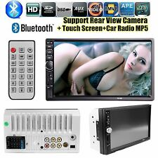 """7"""" HD Touch Screen Double Car Stereo Player FM Bluetooth Radio Camera GPS"""