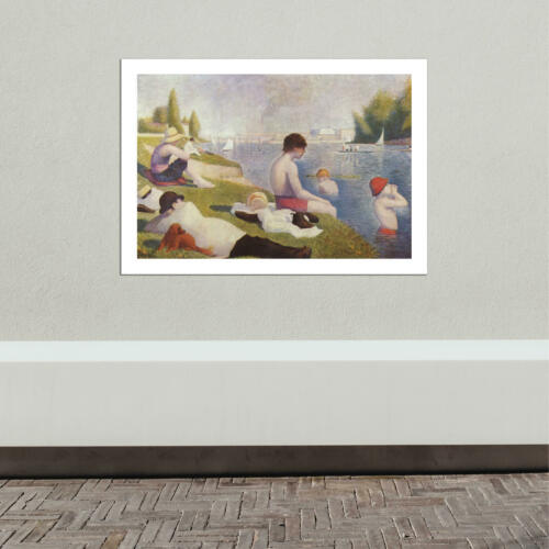Georges Seurat Bathers by the River Wall Art Poster Print