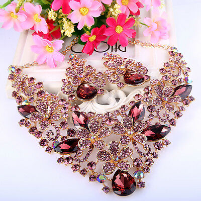 Bridal Flower Butterfly Purple Austrian Crystal Necklace Earrings Set Vintage