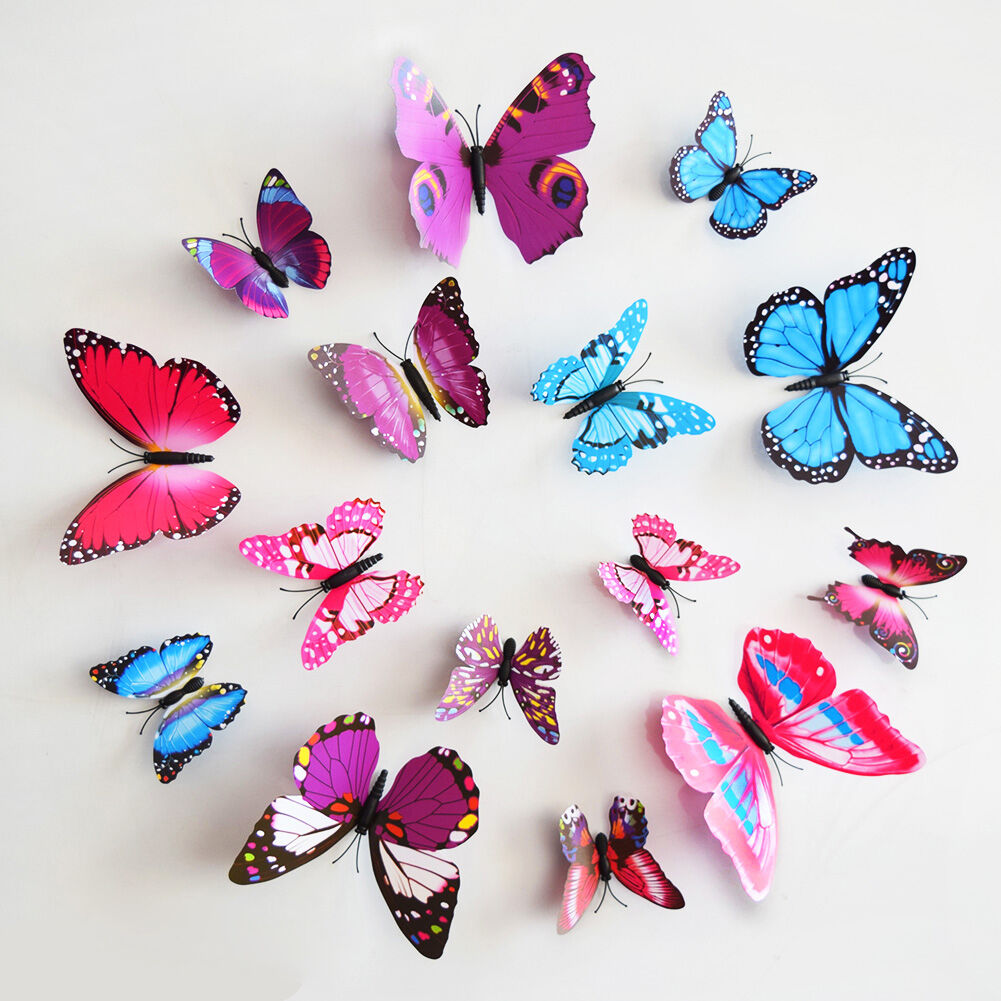 DIY 3D Simulation Butterfly Dual Wing Magnet Home Wall Sticker Party Decor Decal