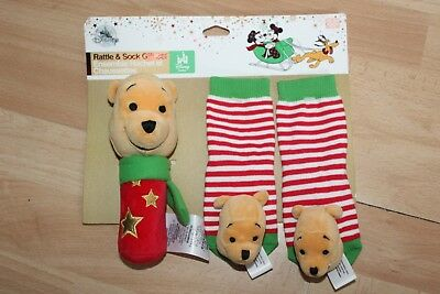 Disney Store Winnie the Pooh Holiday Rattle /& Sock Set Baby 0 6 12 24 Months New
