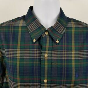 RECENT-Ralph-Lauren-Men-039-s-Green-Blue-Plaid-Check-L-S-Casual-Button-Shirt-Sz-XL
