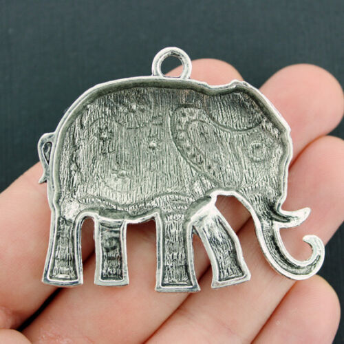 Elephant Pendant Charm Antique Silver Tone Large Size Beautiful Detail SC4466