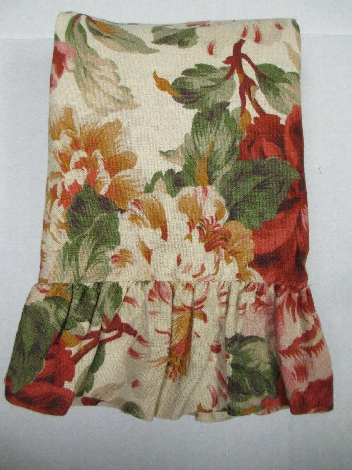 Ralph Lauren POST ROAD Beige Red Green Floral Ruffled Standard Pillow Sham