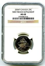2004 P CANADA 25 CENT NGC MS68 FIRST FRENCH SETTLEMENT QUARTER LOW POP=5 RARE!