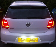 Volkswagen Polo 6R 2009+ LED Number Plate Light Bulbs Xenon White 6000K