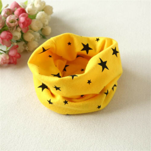 Kids Baby Girls Boy Cotton Snood Scarf Scarves Neckerchief Stars Print K0 K0