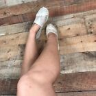 WOMENS WELL WORN TOMS LACE CREME BALLET FLATS SHOES USED PETITE SIZE 7
