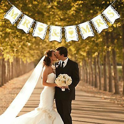 5ddb86bb8604 Buy Unomor Mr Mrs Banner Golden Glitter for Wedding Shower Decorations6.9 X  5.5 Inch online
