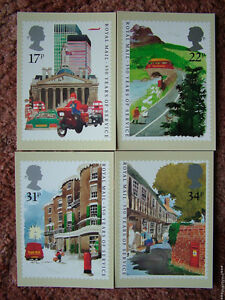 PHQ Stamp card set No 85 Royal Mail 350 Years 1985. 4 card set Mint Condition