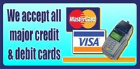 CREDIT CARD SIGN BANNER OUTDOOR SIGNS SHOP VINYL BANNERS PVC
