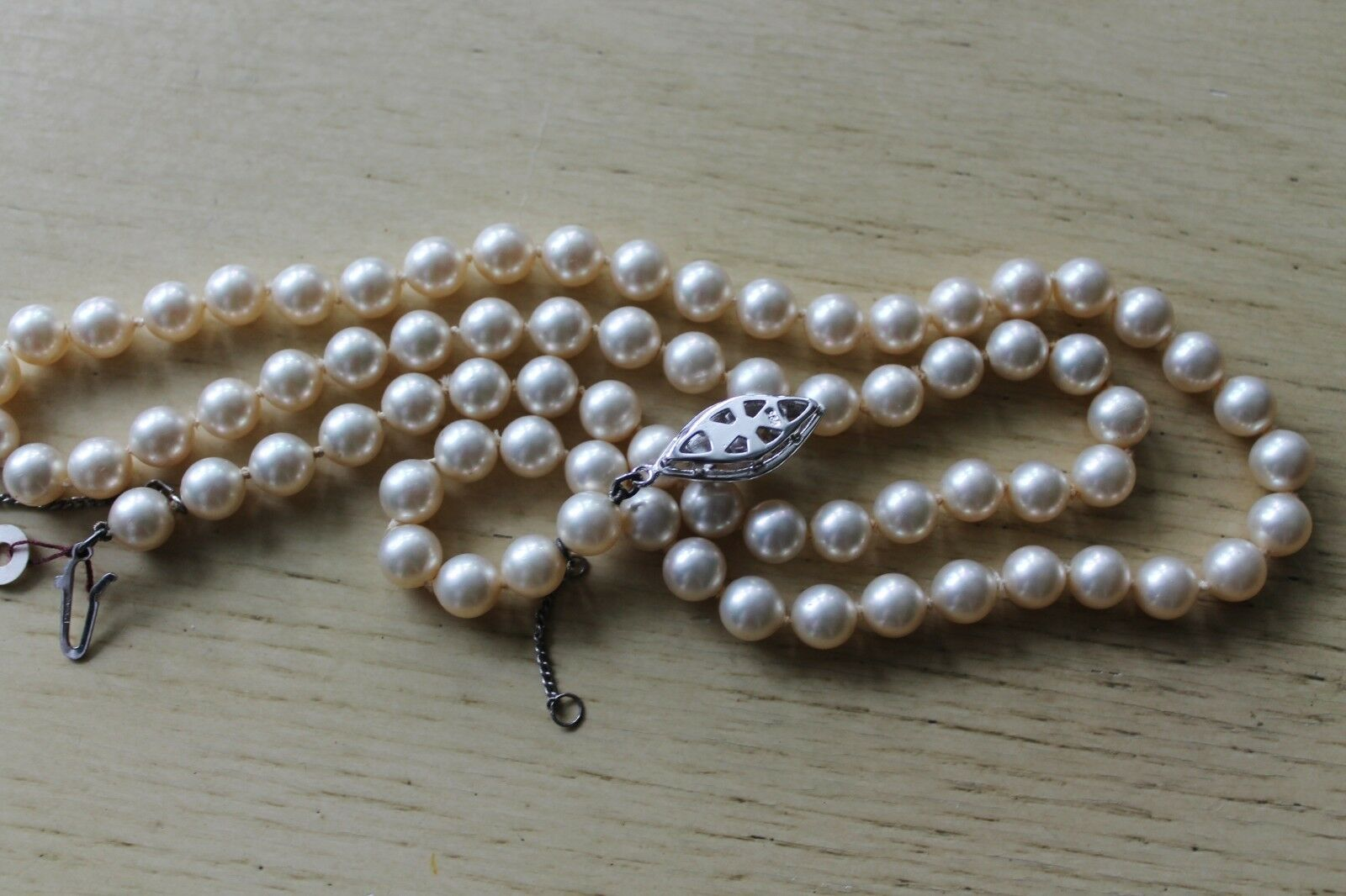 Vintage Synthetic Pearl Bead Necklace Sterling Si… - image 3