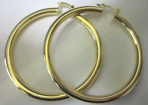 14 Karat Gold Plated 2 3 4 Inch Large Thick Lightweight Hoop Earring