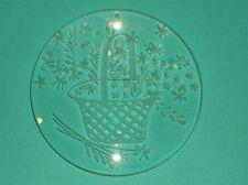 """LOVELY VINTAGE OPTICAL LENS HANGING ART GLASS~ETCHED FLOWERS & BASKET~ 5""""DIAM"""