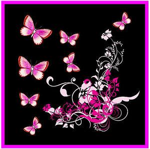 Rose-Papillon-Noir-amp-Fleurs-Nouveaute-Lot-de-4-Sous-Verre-Tout-Neuf