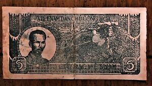 1948-Vietnam-5-Dong-Banknote-green-brown-violet-Pick-17-c-Blue-Stamp