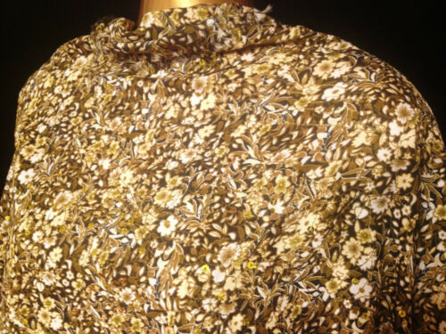 *NEW* Soft Viscose Cotton Mix Sequinned Olive Floral Print Dress//Craft Fabric