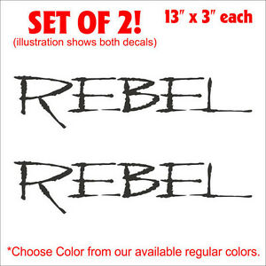 Rebel-Car-Truck-Setof2-Decals-Stickers-13-5-x3-WOW