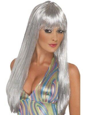 Argento Con Glitter Parrucca 60 70s Discoteca Lungo Glamour Accessorio Costume Il Consumo Regolare Di Tè Migliora La Salute