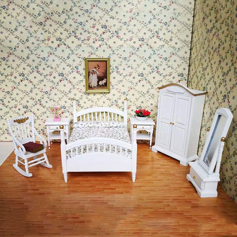 1 12 Sets Puppenhaus Modell Schlafzimmer Sets 12 Miniatur Bett Schrank Möbel Zubehör b8506e
