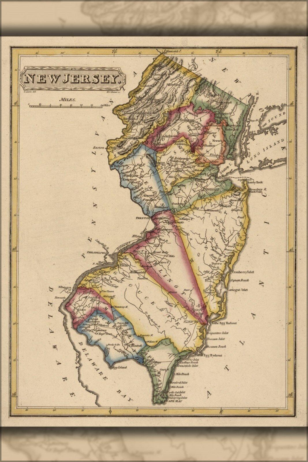 Poster, Many Größes; Map Of New Jersey 1817