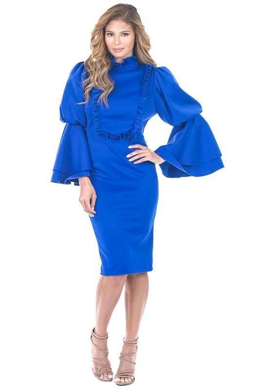 Frilled bib collar puffy long sleeve bodycon dress  royal Blau