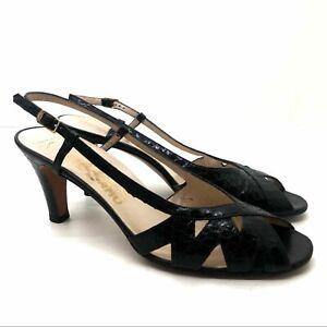 Salvatore Ferragamo black sling back heel sandals open toes embossed sz 8.5 AAA