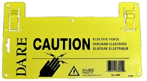 "6 Pack Yellow Dare 5-1//2/"" x 9/"" Large Electric Fence Warning Sign"