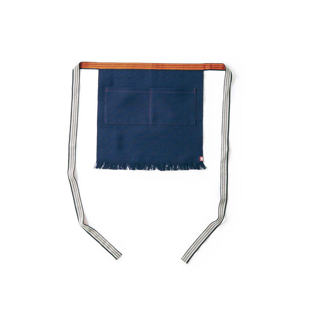 Plain Short maekake japonais Tablier double poches bleu marine rien MC011004