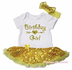 Birthday Girl Arrow Heart White Bodysuit Yellow Bling Sequins Baby Dress NB-18M