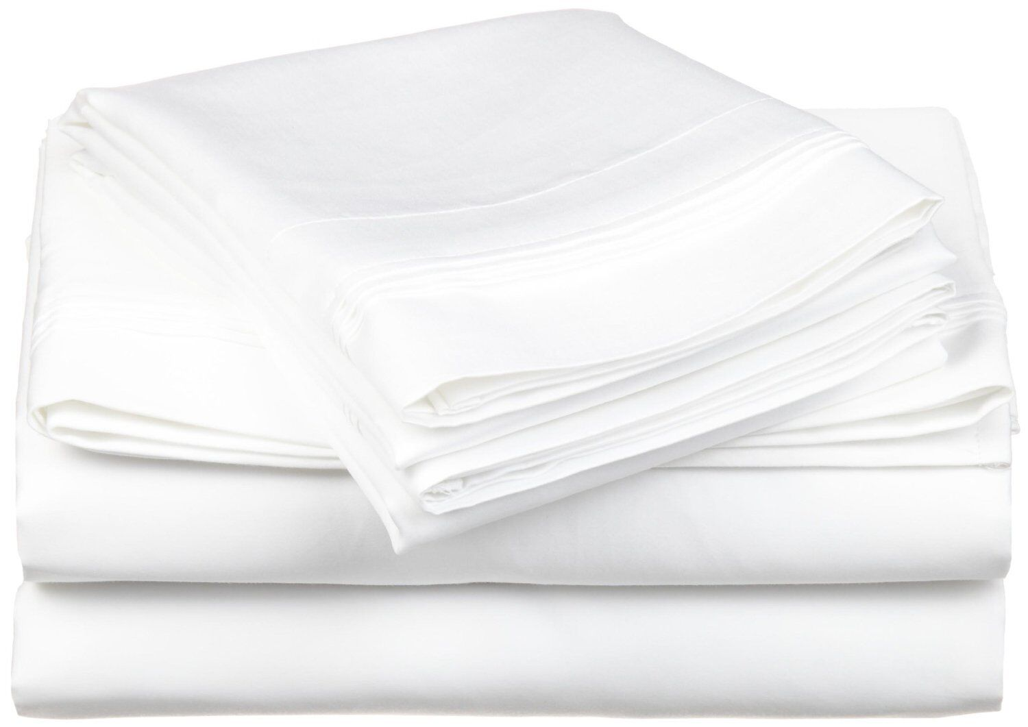 Impressions Cotton Rich 600 Thread Count 3pc Twin XL Bed Sheet Set Solid Weiß