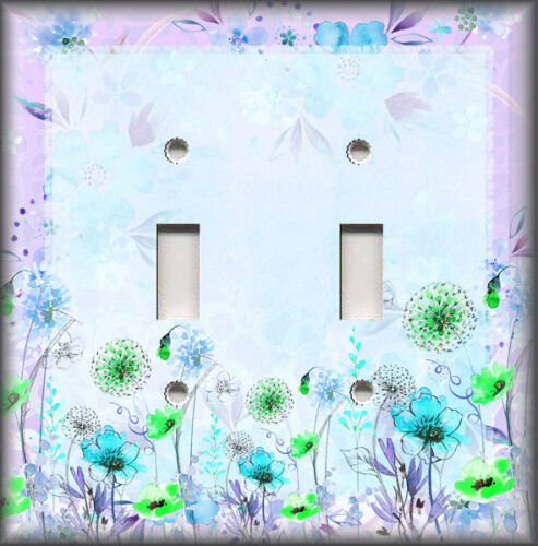 Watercolor Wildflowers Home Decor Blue Purple Metal Light Switch Plate Cover