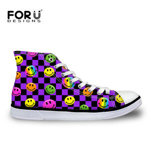 Cartoon-Emoji-Womens-Flat-Breathable-High-Top-Ankle-Shoes-Casual-Canvas-Sneakers