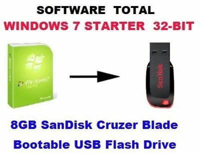 WINDOWS 7 STARTER 32 - BIT, IN USB FLASH DRIVE | eBay
