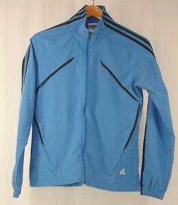 Details about Adidas Womens Full Zip Lightweight Jacket Track Top Running Blue 3 Stripe S