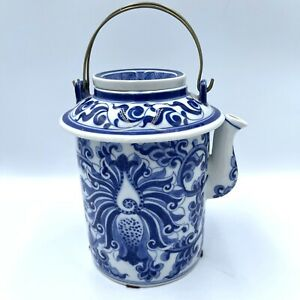 Antique Chinese Porcelain Blue and White Floral Cloud HandPaint Tea Pot