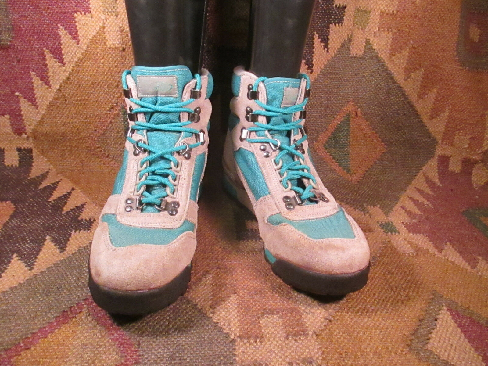 Vasque Grey Teal Suede Lightweight Hiking Ankle Trail Boots size 10