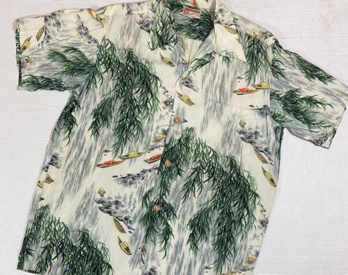 Vtg Polynesian Sportswear Shirt Aloha Wood Buttons