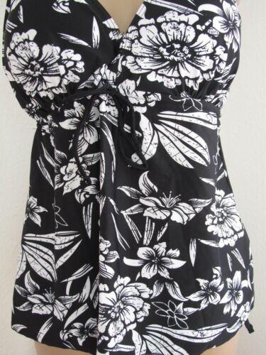 Tankini Set A-Form Damenbademode Gr.42-50 Kleidchenform schwarz-weiss Blätter Bl