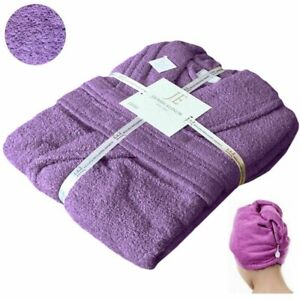 100% EGYPTIAN COTTON TOWEL BATHROBE DRESSING GOWN HOODED OR SHAWL LILAC S to 4XL