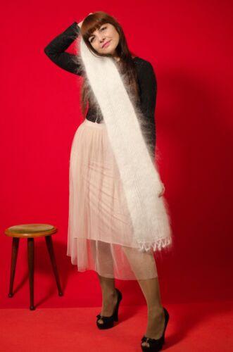 "Neuf blanc d/'hiver écharpe Wrap Hand Knitted Longhair chèvre Down Cashmere 46x6,5 /""pouces"