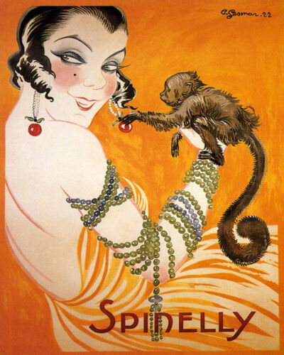 POSTER SPINELLY JEWELRY FASHION LADY MONKEY EARRINGS VINTAGE REPRO FREE S//H