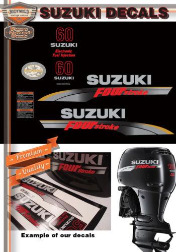 SUZUKI 60hp FOUR STROKE Decals 2006-2009 Models GOLD HI LITES