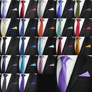 Hommes-Mariage-Solid-Couleur-Bloc-Uni-Satin-Cravate-amp-Matching-Poche-Carre-Mouchoir