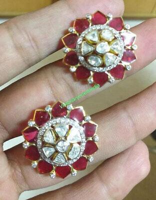 Polki /& Pave Diamond Sapphire Handmade Victorian 925 Silver Wedding Gift Earring