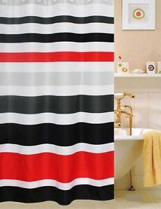 FABRIC SHOWER CURTAIN,Multi-<wbr/>Color  STRIPED RED WHITE & BLACK