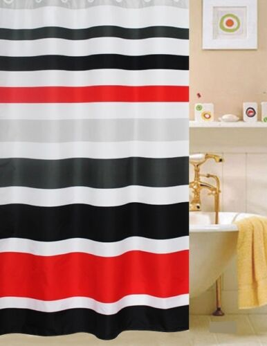 FABRIC SHOWER CURTAIN,Multi-Color  STRIPED RED WHITE /& BLACK
